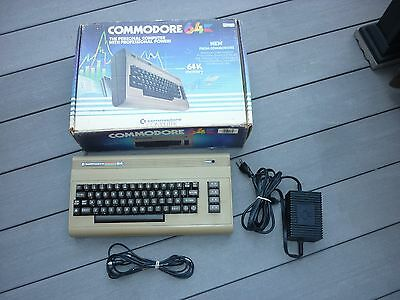 Commodore 64 Computer w/ Power Cord, Monitor Cable, & Box Powers On