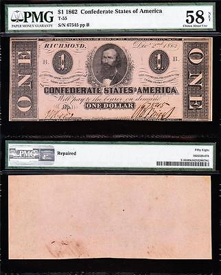 Nice HIGH GRADE 1862 T-55 $1 CSA Confederate Note! PMG 58/n! FREE SHIP! 67545