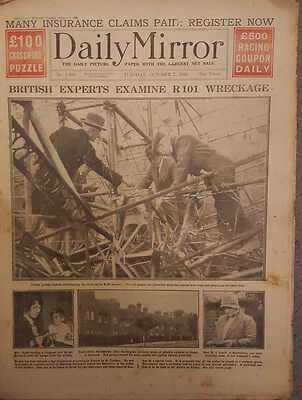 Daily Mirror October 7th 1930 : R101 Wreckage Pictures, Charlton V Millwall