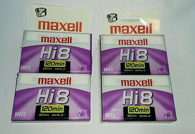 NEW Lot of 4 Maxell Hi8 Digital 8 120/60 Blank 8mm Camcorder Video Tapes