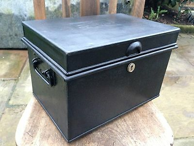 Antique/vintage  Metal Deed Box Storage Chest/Tool Box
