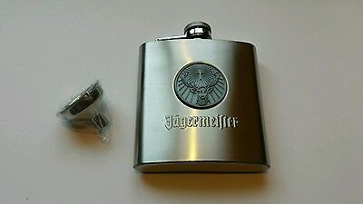 One NEW 6oz Stainless Steel Jagermeister medallion flask with flask funnel.