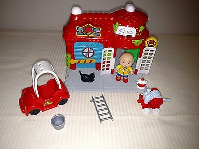 Caillou Fire Station House Fireman Playset Truck Lot Figure Accessories