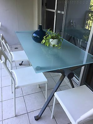 Outdoor Frosted Glass Table Patio Dining Furniture