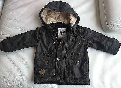 Baby Boys 'Barbour Style' Jacket with Fluffy hood. Age 9-12 Months