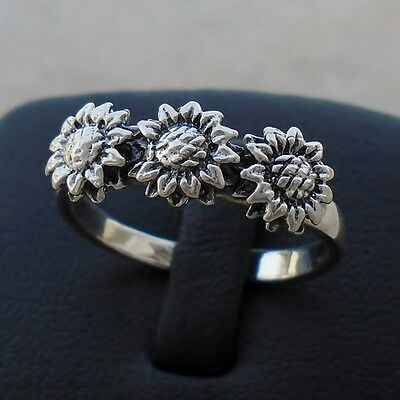 925 Sterling Silver Sunflowers Flowers & Plants Ring Size 7 Band Hallm Solid New