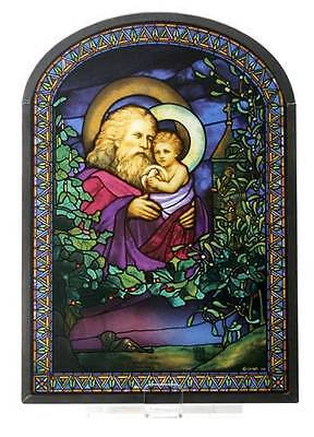 """Tiffany Style Father """"CHRISTMAS EVE"""" 1902 STAINED ART GLASS Window Panel Display"""