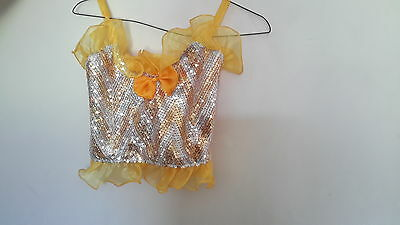 Girls 2 piece Yellow and Gold Dance Costume