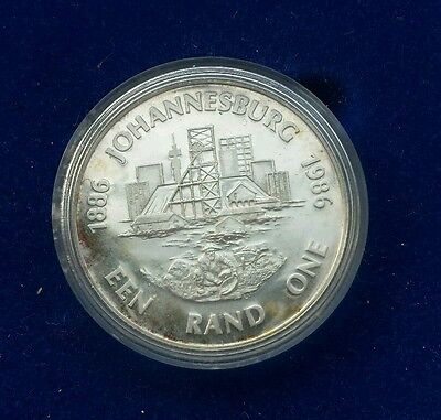 1986 R1 Proof Silver Coin - South Africa - JHB 100 / Diggers - Boxed Proof coin