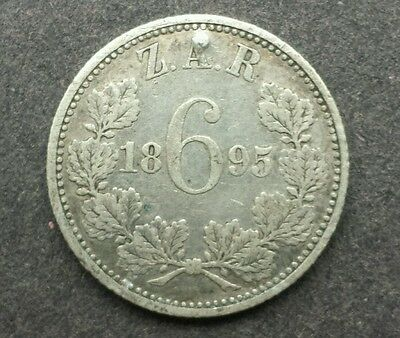 1895 ZAR / Kruger Sixpence - South Africa - Silver - Highly Collectable!