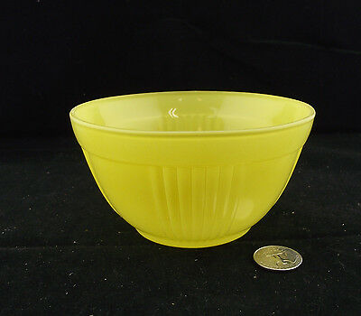 "Vintage Fired On Yellow Glass Mixing Bowl 5 1/4"" In Dia"