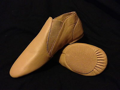 #SALE#  Brand New TAN Leather Jazz Dance Shoes:Child Size 4
