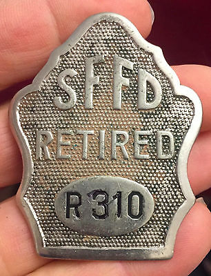 San Francisco Fire Department, SFFD, retirement badge from 1920.