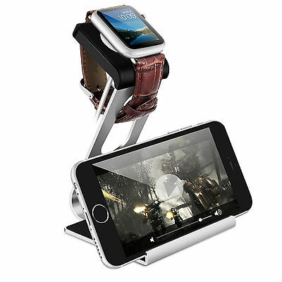 Aluminum Apple IWatch Iphone X 8 7 6 Stand Charging Dock Station Holder Silver