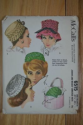 Vintage McCall's 6515 Smocked Hats Sewing Pattern 1960s 4 Styles One Size em