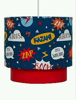 Navy Blue Superheroes Childrens Kids Lightshade Ceiling Light Pendant SHADE NEW