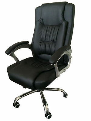 New High Back Leather Executive Office Desk Computer Chair w/Metal Base 3056