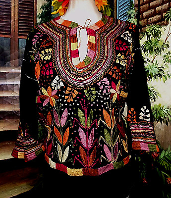 Fall Colors, Corn Motif ALL HAND EMBROIDERED Blouse, Mexican Hippie Boho Cowgirl