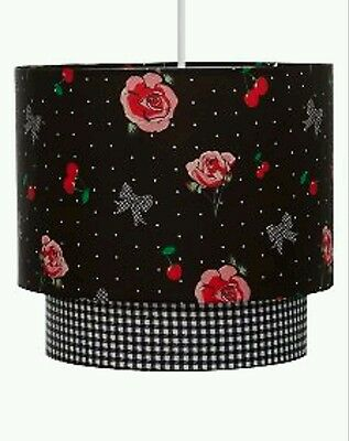 Black Pink Roses Tattoo Lightshade Ceiling Light Pendant SHADE NEW