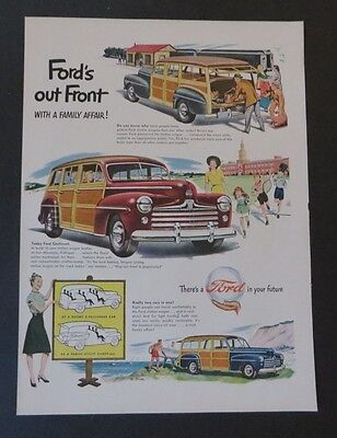 Original  Print Ad 1947 FORD'S Out Front Station Wagon Ford Vintage  Art