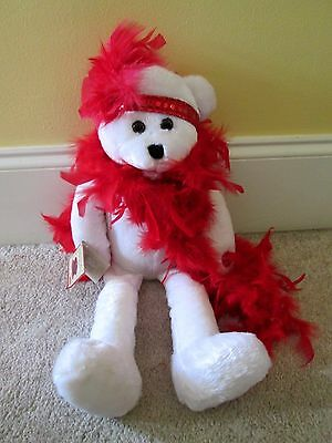"""Chantilly Lane Musicals I Wanna Be Loved By You Plush 22"""" White Bear Red Boa"""