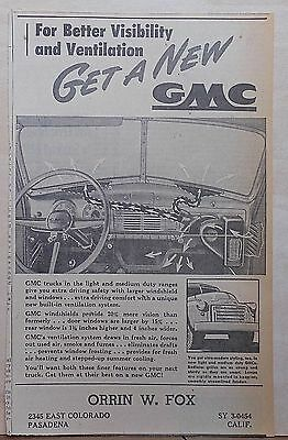 1948 newspaper ad for GMC Trucks - illustration of dash, ventilation visibility