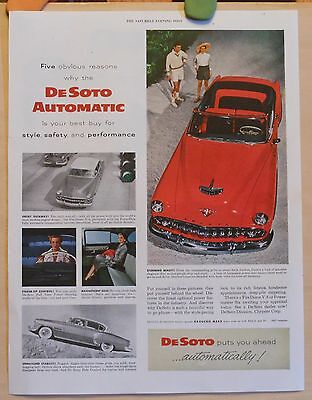 Vintage 1954 ad for DeSoto - photo ad of red DeSoto convertible & interiors