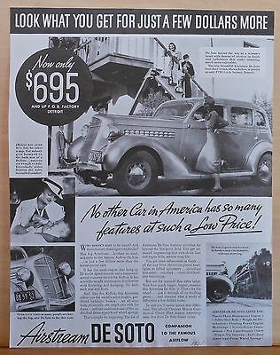 Vintage 1935 magazine ad for DeSoto - Airstream, So Many Features at low price