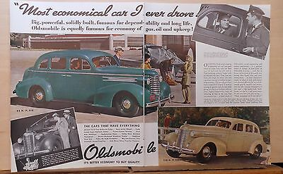 1937 two page magazine ad for Oldsmobile - Six and Eight photos, Most Economical