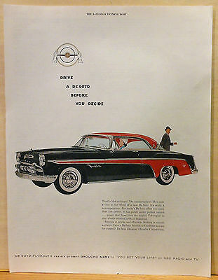 Vintage 1955 magazine ad for DeSoto - red & black Fireflite, Drive a DeSoto