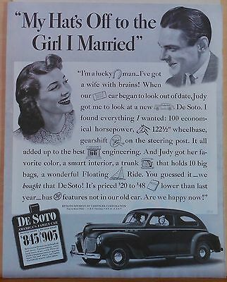 Vintage 1940 magazine ad for DeSoto - Deluxe Coupe, pictogram filled letter ad