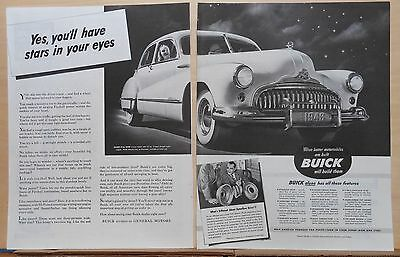 1948 two page magazine ad for Buick, You'll Have Stars in your eyes, Super Sedan