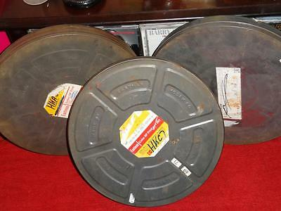 3 x 35mm Vintage Movie Film Can Tin Large Storage Canisters - Kodak
