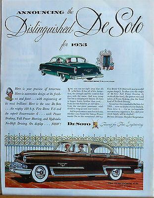 Vintage 1953 magazine ad for DeSoto - Firedome Club Coupe & 4 door Sedan