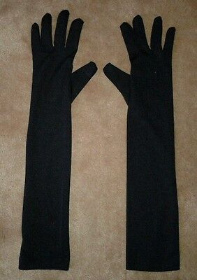 Ladies Black elbow length long gloves - parties, fancy dress costume