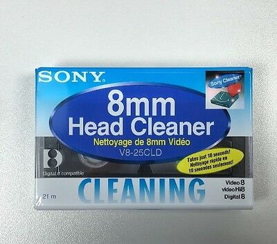 SONY V8-25CLD Video Head Cleaner Cassette Tape Cleaning Hi8 Digital 8 mm NEW!