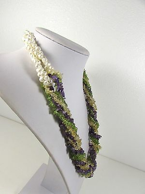 Lee Sands 4 strand Amethyst/Peridot/Citrine/Pearl twister Necklace