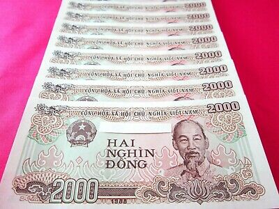 Vietnam Paper Money 10 PCS 2000 Vietnamese Dong Each Viet Nam Currency
