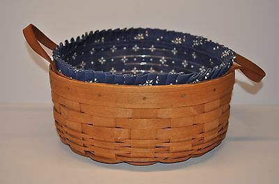 Longaberger 1995 Round Darning Basket Classic Blue Liner Protector Free Shipping