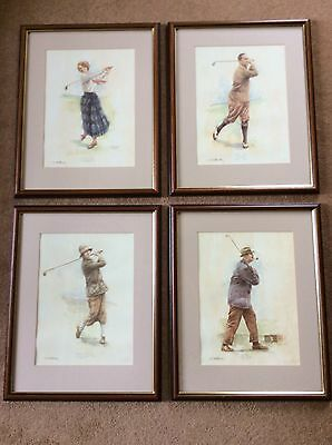 Set Of 4 Framed Sporting Golf Prints. Cecil Leech. Joyce Wethered.Ted Ray. Walte