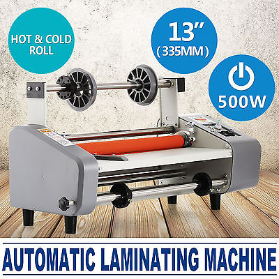 """13"""" Roll Laminator Hot Cold Laminating Machine 1"""" Silicon   Roller A3+ Paper"""