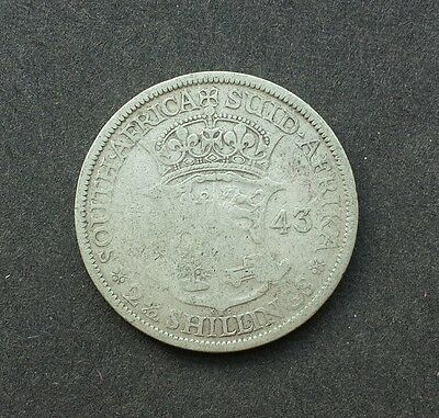 1943 Half Crown, 2 1/2 Shilling Coin, South Africa - SILVER!