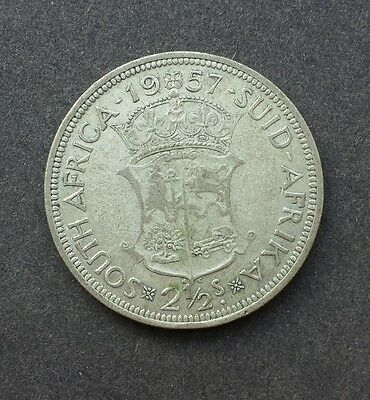 1957 Halfcrown, 2 1/2 Shilling Coin, South Africa - SILVER!