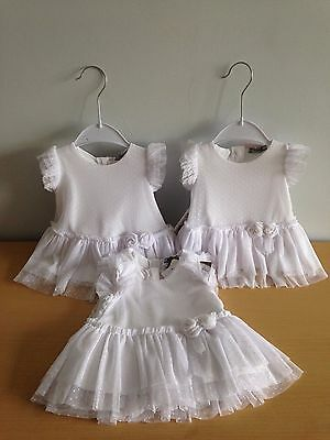 JOB LOT of 4 WHITE BABY DRESSES by MAYORAL - ALL NEW WITH TAGS