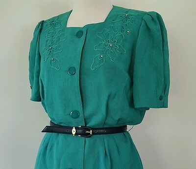 Vintage Japanese 80s green fitted dress size 10-12
