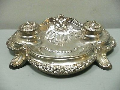 Vintage Ornate Silver Double Inkwell Victorian Style