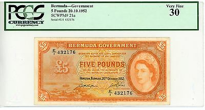 Bermuda ... P-21a ... 5 Pounds … 1952 … *VF* ... PCGS 30