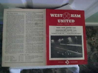 YOUTH CUP PROGRAM:-  WEST HAM UNITED YOUTH  v   MANCHESTER UNITED YOUTH  1956/7