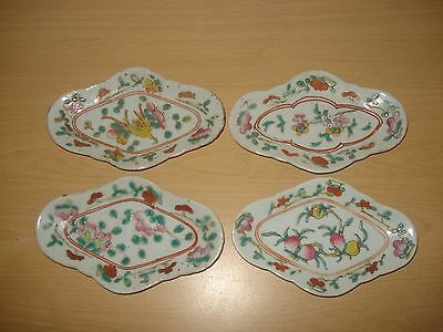 4xstunning chinese late 19th century colourful plates