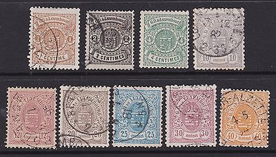 9 stamps of LUXEMBOURG 1874.  fine used, Cat £75+